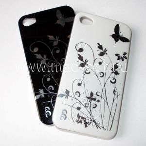 "Чехол-накладка пластиковый ""цветы/бабочка"" для Apple iPhone 4 / 4S"