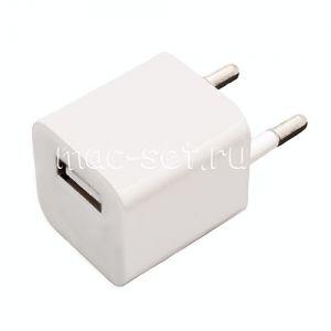 """Сетевое зарядное устройство """"Мини куб"""" USB для Apple iPhone / iPod 1000mA (белое)"""