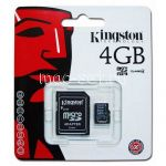 Карта памяти microSDHC 4GB Class 4 Kingston + SD adapter