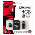 Карта памяти microSDHC 4GB Class 10 Kingston + SD USB adapter