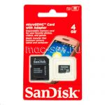 Карта памяти microSDHC 4GB Class 4 SanDisk + SD adapter