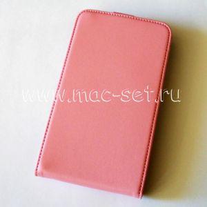 Чехол вертикальный флип кожаный для Samsung Galaxy Note N7000 (розовый)