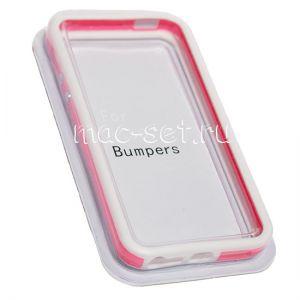 Чехол-бампер силиконовый для Apple iPhone 5 / 5S / SE (белый с розовым)