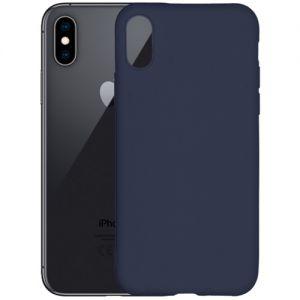 Чехол-накладка силиконовый для Apple iPhone X / XS (синий 1.0мм) матовый