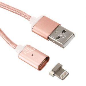 Дата-кабель Apple Lightning 1м магнитный [плетеный] Red Line (розовый)