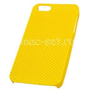 Чехол-накладка пластиковый для Apple iPhone 5 / 5S / SE сетка (желтый)