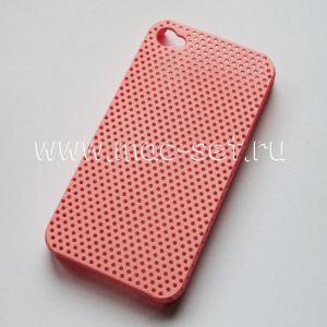 Чехол-накладка пластиковый для Apple iPhone 4 / 4S сетка (розовый)