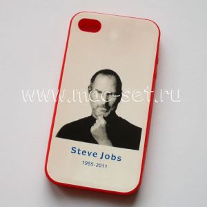 """Чехол-накладка силиконовый """"Стив Джобс"""" для Apple iPhone 4 / 4S"""