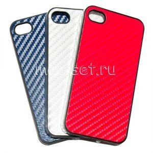 """Чехол-накладка пластиковый """"цветная кожа"""" для Apple iPhone 4 / 4S"""
