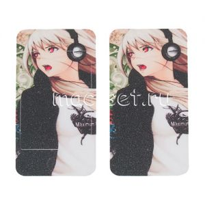"""Виниловая наклейка """"Аниме"""" для Apple iPhone 4 / 4S [комплект] (девушка в наушниках)"""