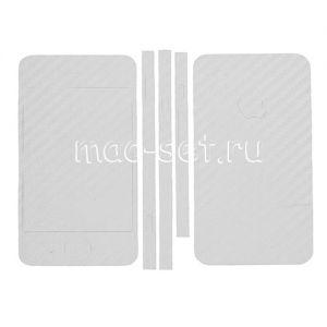 """Виниловая наклейка """"карбон"""" для Apple iPhone 4 / 4S [комплект] (белая)"""