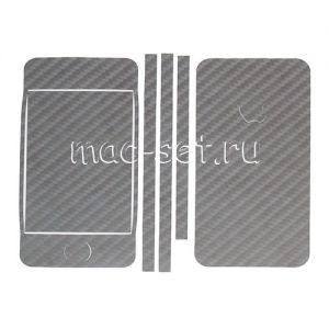 """Виниловая наклейка """"карбон"""" для Apple iPhone 4 / 4S [комплект] (черная)"""