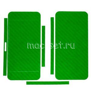 """Виниловая наклейка """"карбон"""" для Apple iPhone 5 [комплект] (зеленая)"""