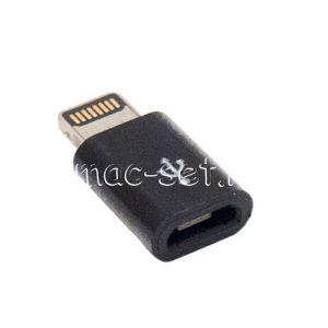 Переходник microUSB - Apple 8 контактный разъем Lightning (черный)