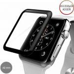 Защитное стекло 3D для Apple Watch 42мм [изогнутое клеится на весь экран] (черное)