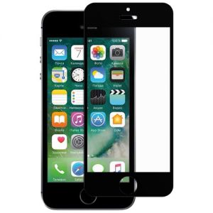 Защитное стекло для Apple iPhone 5 / 5C / 5S / SE [клеится на весь экран] (черное)