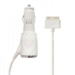 Автомобильное зарядное устройство для Apple iPad / iPhone 30 контактный разъем 2100mA (белое)