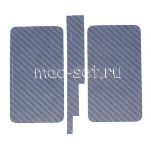"""Виниловая наклейка """"карбон"""" для Apple iPhone 4 / 4S [комплект] (синяя)"""