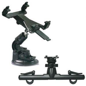 Автодержатель для планшета на стекло / подголовник Ainy 907 раздвижной (черный)