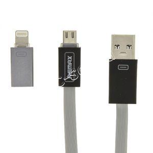 Дата-кабель Apple Lightning / microUSB 1м [плоский] Remax Shadow RC-026t (серый)