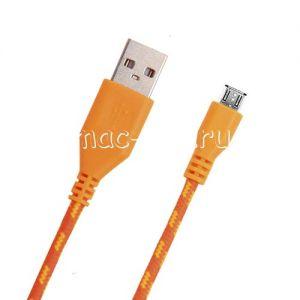 Дата-кабель microUSB 1м [плетеный] (оранжевый)