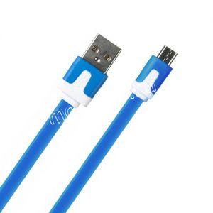 Дата-кабель microUSB 1м [плоский] Red Line Lite (синий)
