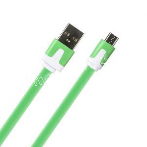 Дата-кабель microUSB 1м [плоский] Red Line Lite (зеленый)