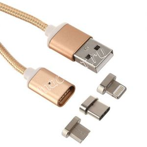 Дата-кабель USB Type-C / microUSB / Apple Lightning 1м магнитный [плетеный] Red Line (золотистый)