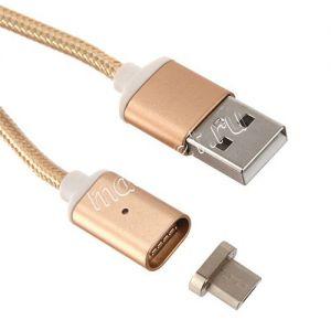 Дата-кабель microUSB 1м магнитный [плетеный] Red Line (золотистый)