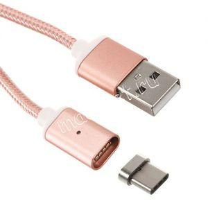 Дата-кабель USB Type-C 1м магнитный [плетеный] Red Line (розовый)