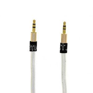 Кабель аудио Jack 3.5 (M) - Jack 3.5 (M) 3 метра [плетеный плоский] (белый)