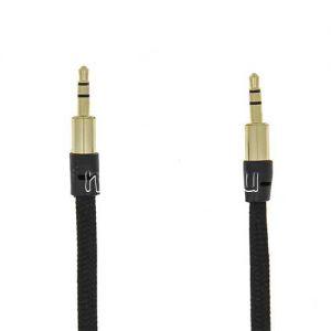 Кабель аудио Jack 3.5 (M) - Jack 3.5 (M) 3 метра [плетеный плоский] (черный)