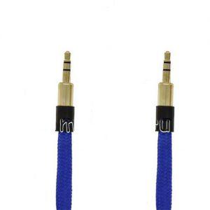 Кабель аудио Jack 3.5 (M) - Jack 3.5 (M) 3 метра [плетеный плоский] (синий)