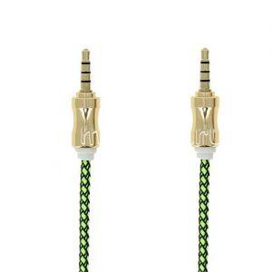 Кабель аудио Jack 3.5 (M) - Jack 3.5 (M) 1 метр [плетеный] (зеленый)