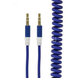 Кабель аудио Jack 3.5 (M) - Jack 3.5 (M) 1 метр [пружина] (синий)