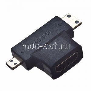 Переходник-адаптер HDMI-miniHDMI / microHDMI (черный)