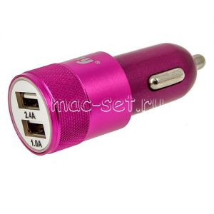 Автомобильное зарядное устройство 2xUSB 2400mA Ainy EB-018J (розовое)