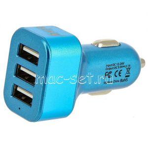 Автомобильное зарядное устройство 3xUSB 3100mA Ainy EB-025N (синее)