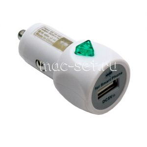 Автомобильное зарядное устройство USB 2100mA (белое)
