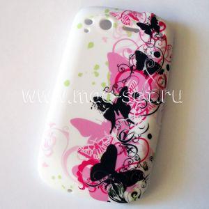"""Чехол-накладка силиконовый """"бабочки"""" для HTC Desire S"""