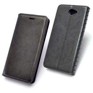Чехол-книжка кожаный для Huawei Y7 (2017) (черный) Book Case New