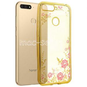 Чехол-накладка силиконовый для Huawei Honor 7C (золотистый) Hallsen Shine