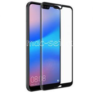 Защитное стекло 3D для Huawei P20 Lite [изогнутое на весь экран] (черное)