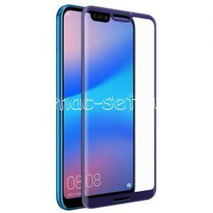 Защитное стекло 3D для Huawei P20 Lite [изогнутое на весь экран] Red Line (синее)