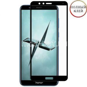 Защитное стекло для Huawei Honor 7X [клеится на весь экран] (черное)