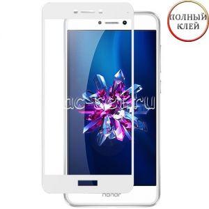 Защитное стекло для Huawei Honor 8 Lite [клеится на весь экран] (белое)