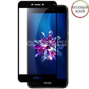 Защитное стекло для Huawei Honor 8 Lite [клеится на весь экран] (черное)