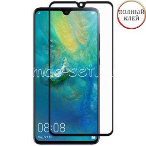 Защитное стекло для Huawei Mate 20 [клеится на весь экран] (черное)