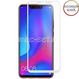 Защитное стекло для Huawei Nova 3 / 3i [клеится на весь экран] (белое)