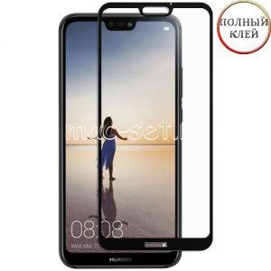 Защитное стекло для Huawei P20 Lite [клеится на весь экран] (черное)